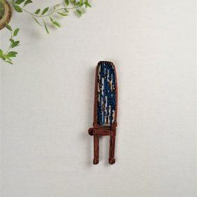 eventail wax bleu - manche cuir - ferme - awa market