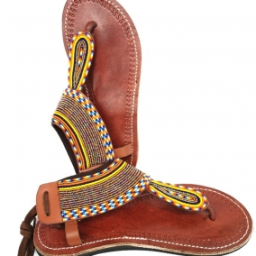 Sandales en cuir de boeuf à perles