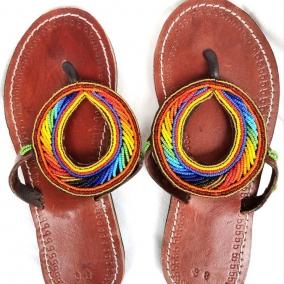 Sandales en cuir de boeuf à perles sans lacets